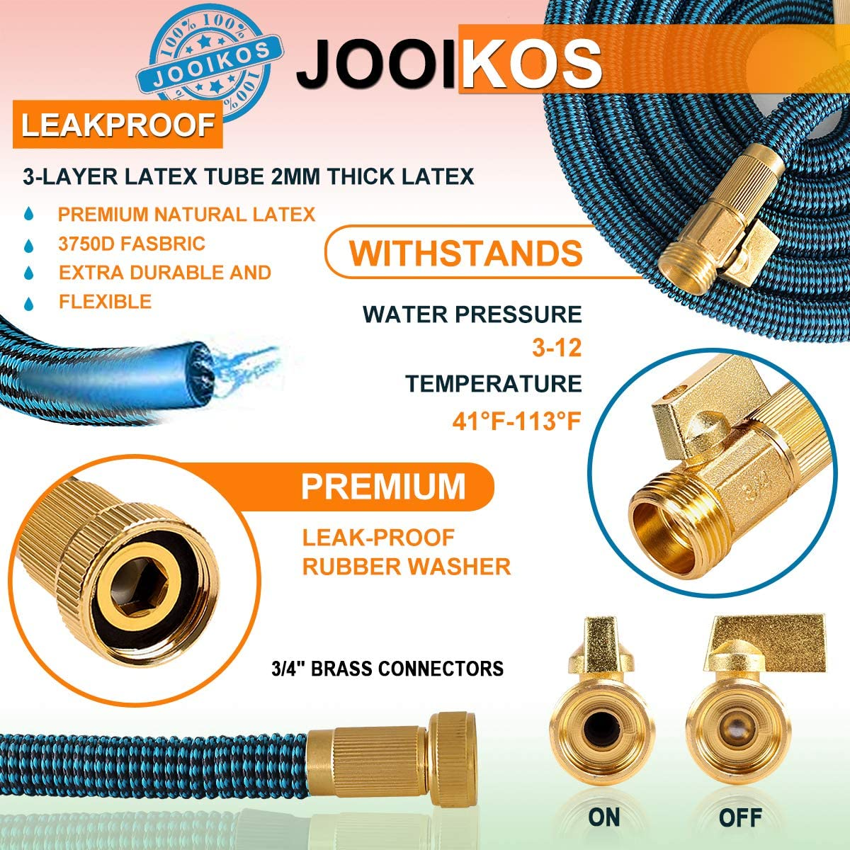 """JOOIKOS Expandable Garden Hose 50ft - Flexible Water Hose with 10 Functions Spray Nozzle and Durable Triple Latex Core with 3/4"""" Solid Brass Fittings/Strength Stretch 3750D Fabric for Watering/Washing : Garden & Outdoor"""