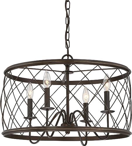 Quoizel RDY2821PN Dury Cage Pendant Lighting, 4-Light, 240 Watts, Palladian Bronze 15 H x 22 W