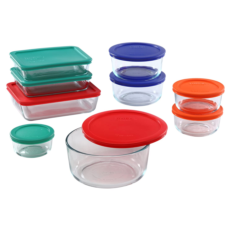 Pyrex 1110608 781147970080 18-Piece Glass Food Storage Set with Multi-Color Lids, Clear