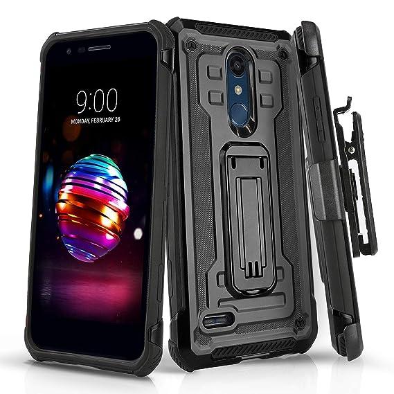 Phone Case for [LG K30], [Rivet Series][Black] Shockproof Cover with  [Kickstand] & [Swivel Belt Clip Holster] for LG K30 (Xfinity Mobile, Metro,  Boost