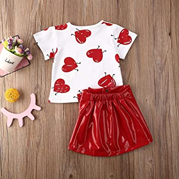 Zipper Leather Short Skirt Clothes Set 2PC Baby Girls Valentines Day Outfit Heart Print T-Shirt Top