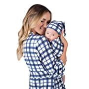 Matching Delivery Robe and Swaddle Blanket Set Mom and Baby (L/XL 12-18, Blue Gingham)