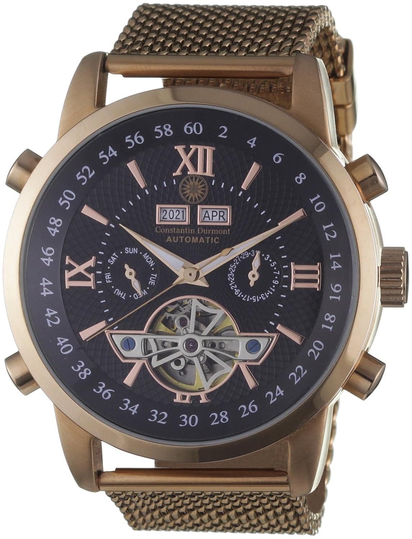 Constantin Durmont CD-CALE-AT-RGM2-RGRG-BK - Reloj analógico para caballero de acero inoxidable recubierto