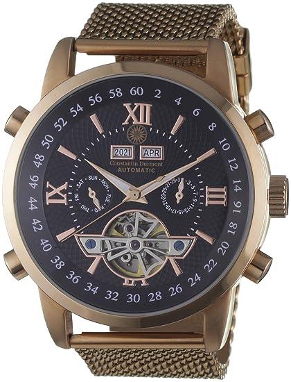 Constantin Durmont CD-CALE-AT-RGM2-RGRG-BK - Reloj analógico para caballero de acero inoxidable recubierto: Amazon.es: Relojes