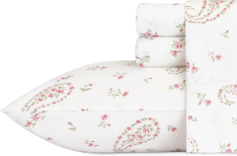Laura Ashley Bristol Paisley Cotton Sheet Set, Queen, 4 Piece