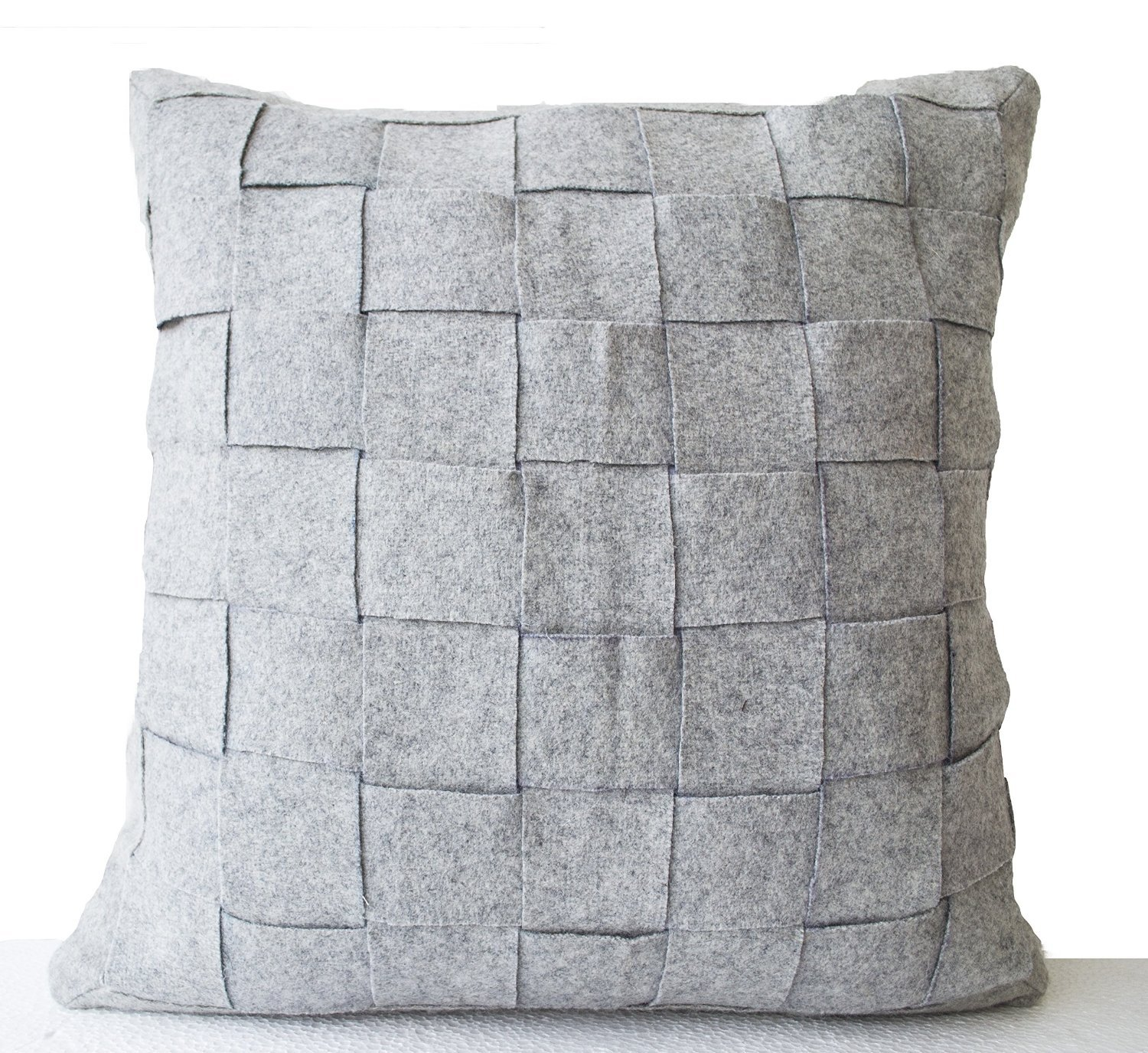Amazon.com: Amore Beaute Customizable Grey Felt Pillow Cover ...