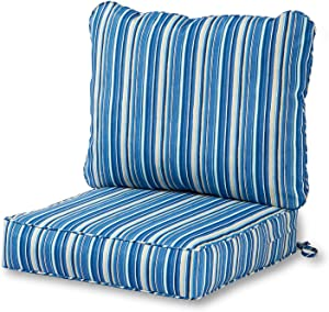 Greendale Home Fashions AZ7820-SAPPHIRE Steel Blue Stripe Outdoor 2-Piece Deep Seat Cushion Set