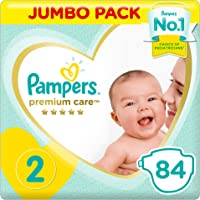 Pampers Premium Care Diapers, Size 2, Mini, 3-8 kg, Jumbo Pack, 84 Count