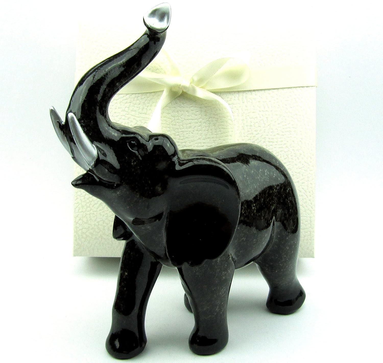 Amazon.de: Deko Elefanten-Figur, Elefant in edler Naturstein-Granit ...