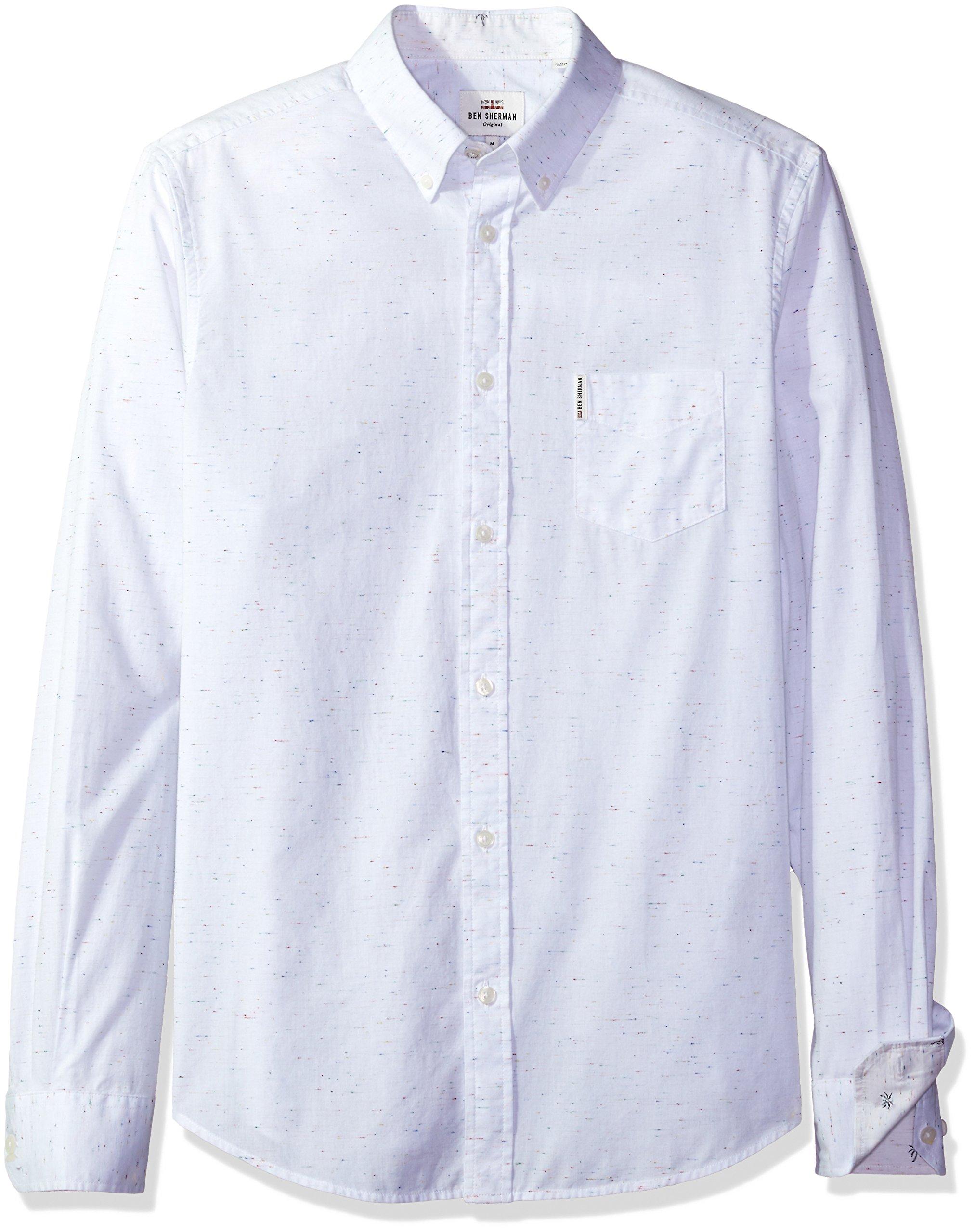 Ben Sherman Men's Long Sleeve Modern Print Summer, Bright White, Large