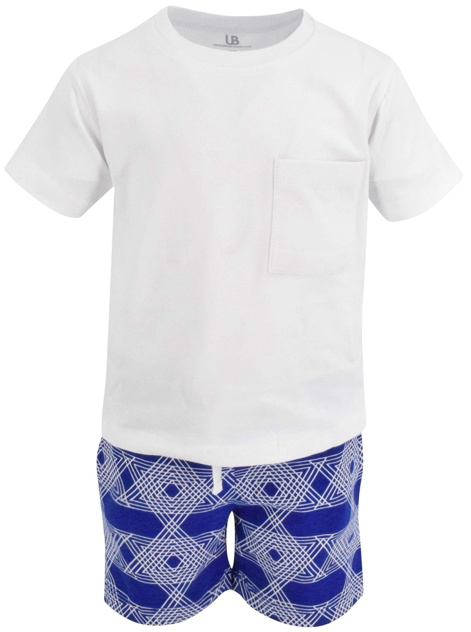 Unique Baby Boys 2 Piece Star of David Print Hanukkah Outfit Shirt Shorts (7)