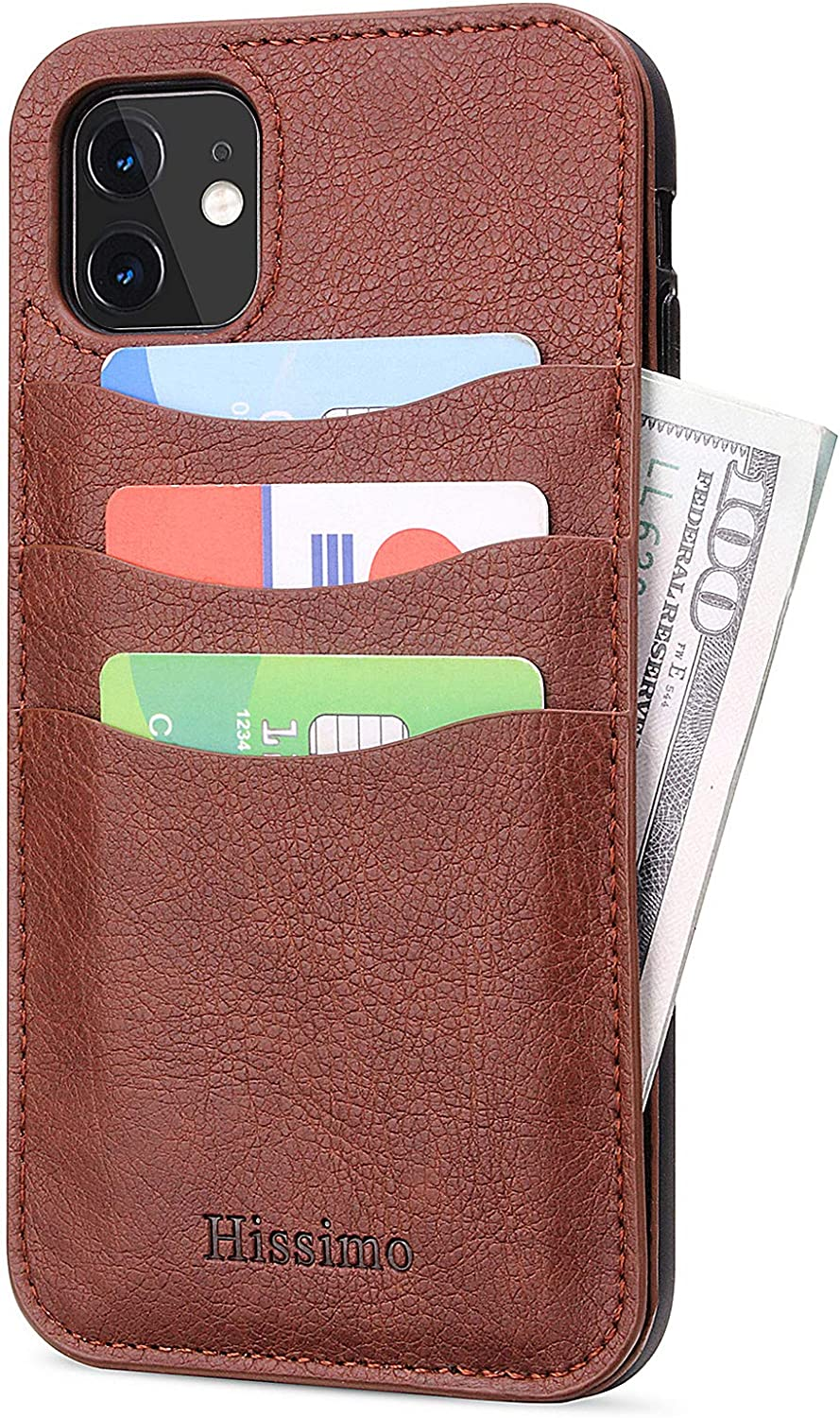 HISSIMO Wallet Case for iPhone 11 with Credit Card Holder, 3 Card Slots and 1 Cash Pocket, Slim Vintage Synthetic Leather [iPhone 11 6.1'', Coffee]