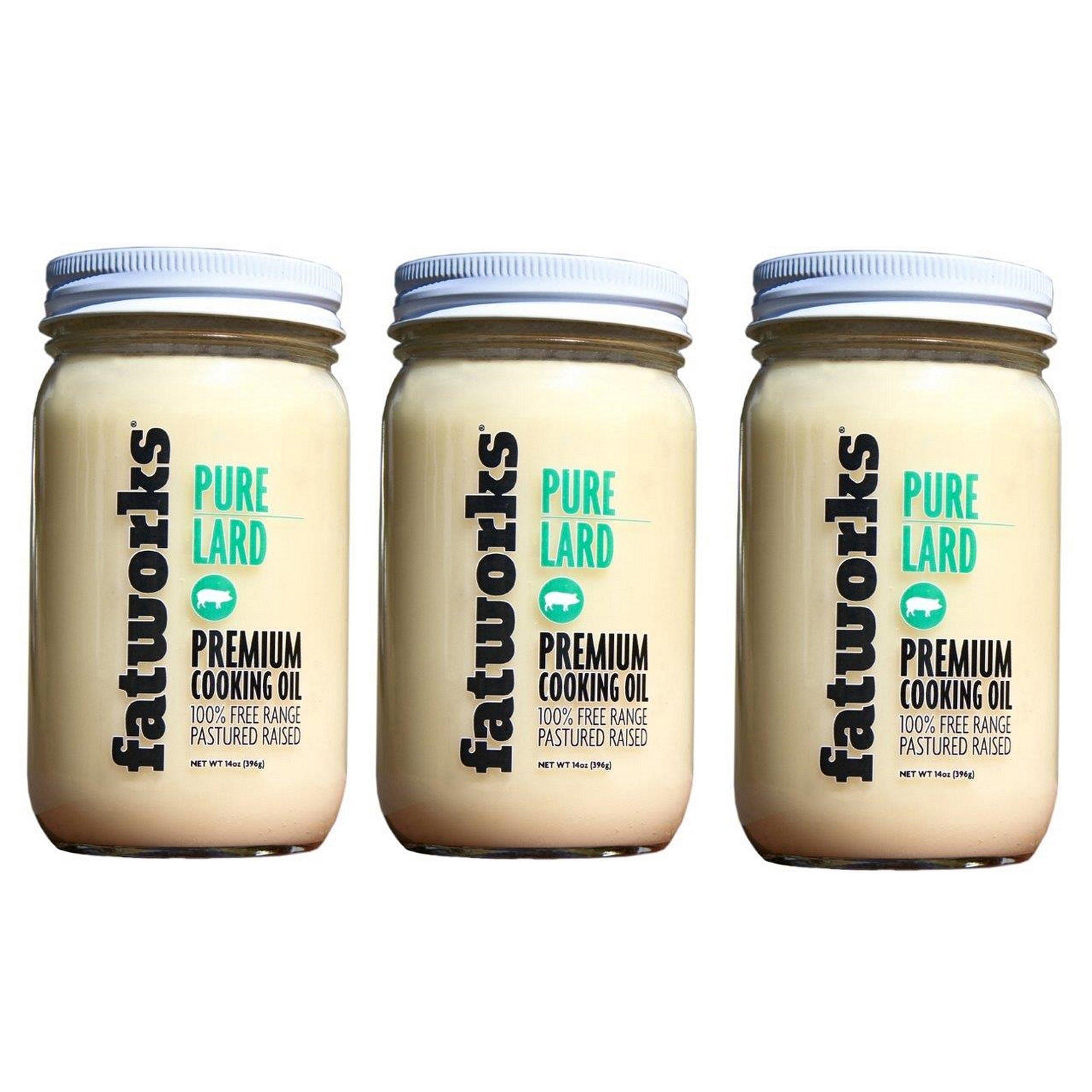 FatWorks Pure Pork Lard, Free Range & Pasture Raised, 14oz - 3 Pack