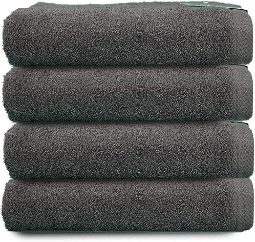 ADP Home - Toallas De Mano/Lavabo Calidad De 100% Algodón Peinado 550Grms Pack De 4 Unidades - Color - gris - Talla - 50 x 100 cm: Amazon.es: Hogar