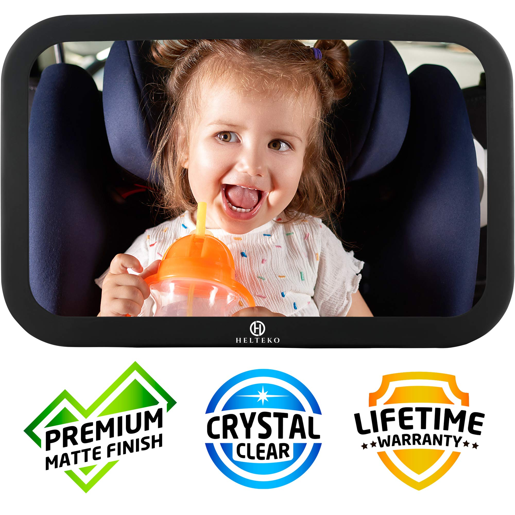 Helteko Baby Car Mirror - View of Infant in Rear Facing Car Seat - Stable and Shatterproof Backseat Mirror for Child with Wide Crystal Clear View - Easy Adjustable 360° - Crash Tested Secure by H Helteko