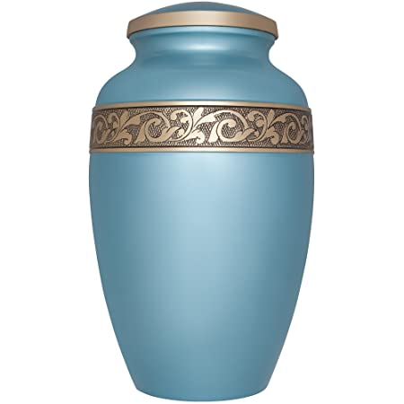Metallic blue Funeral Cremation Urn with gold band of engraved flower vines Vignoble Model in Brass for Human Ashes Suitable for Cemetery Burial Fits Remains of Adults up to 200 lbs