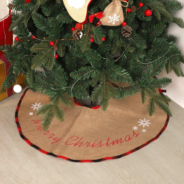 N/&T NIETING Burlap Christmas Tree Skirt 30 Inches Holiday Home Decor Merry Christmas Tree Ornaments Rustic Xmas Tree Skirt for Christmas Decorations