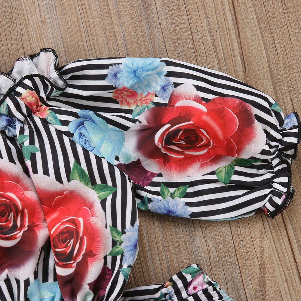 Toddler Girl Ruffle Tube Top+Floral Wide Leg Pants Striped Outfits Set