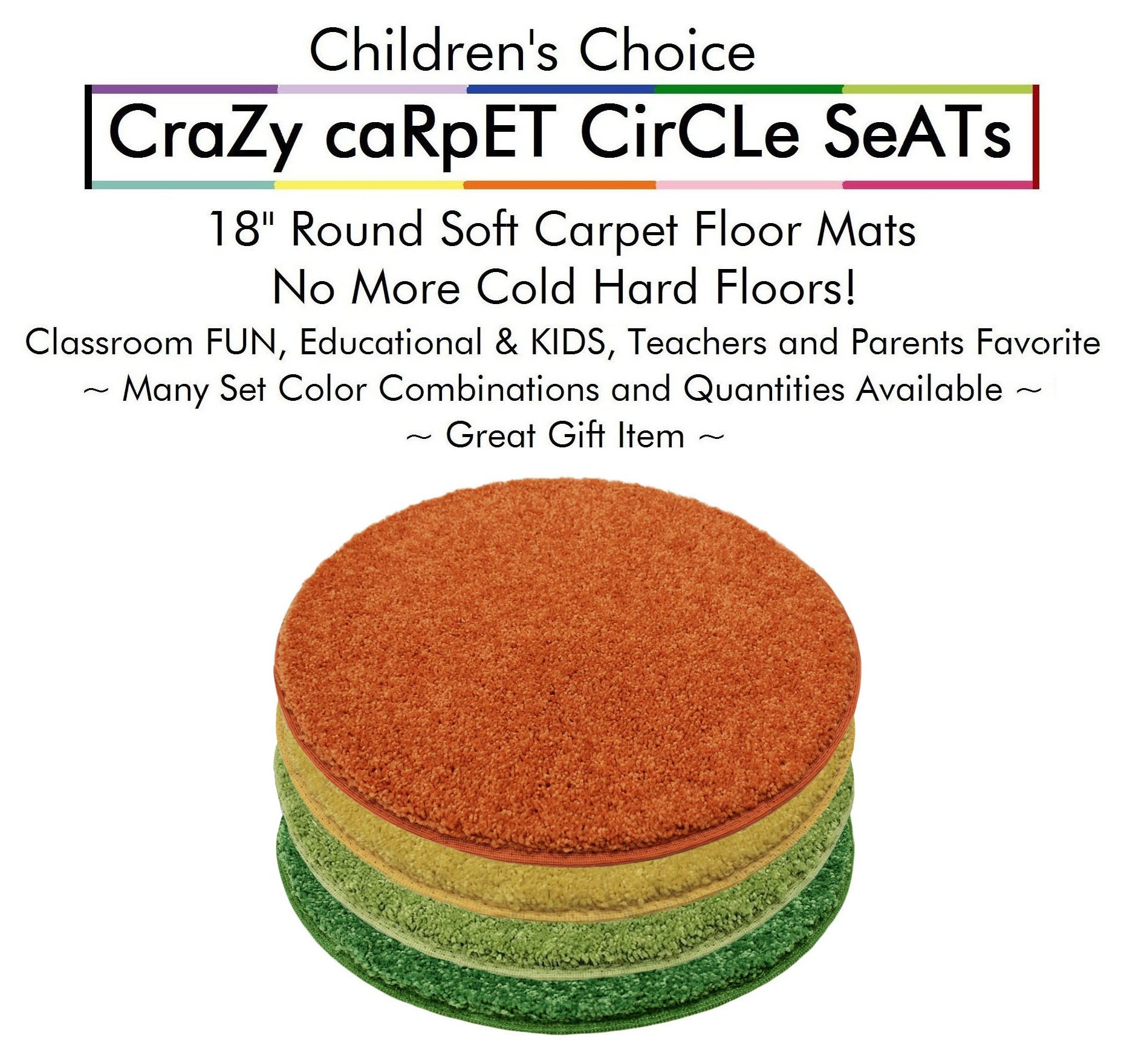 "Set 4 - Summer Days Kids CraZy CarPet CirCle SeaTs 18"" Round Soft Warm Floor Mat - Cushions 