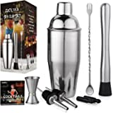 Aozita Stainless Steel Cocktail Shaker Home Bar Set Includes 24 OZ Cocktail Shaker - Built-in Strainer/10 Inch Mixing Spoon and Muddler/Cocktail Jigger/Liquor Pourer/Cocktail Recipes