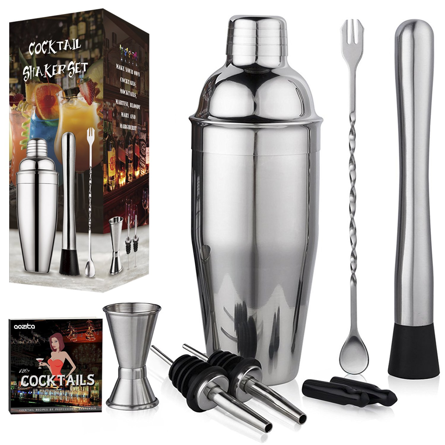 Aozita Cocktail Shaker Set Includes Martini Shaker, Mixing Spoon, Muddler, Measuring Jigger, Liquor Pourers with Dust Caps and Recipes Booklet- Professional Stainless Steel Bar Tools by Aozita