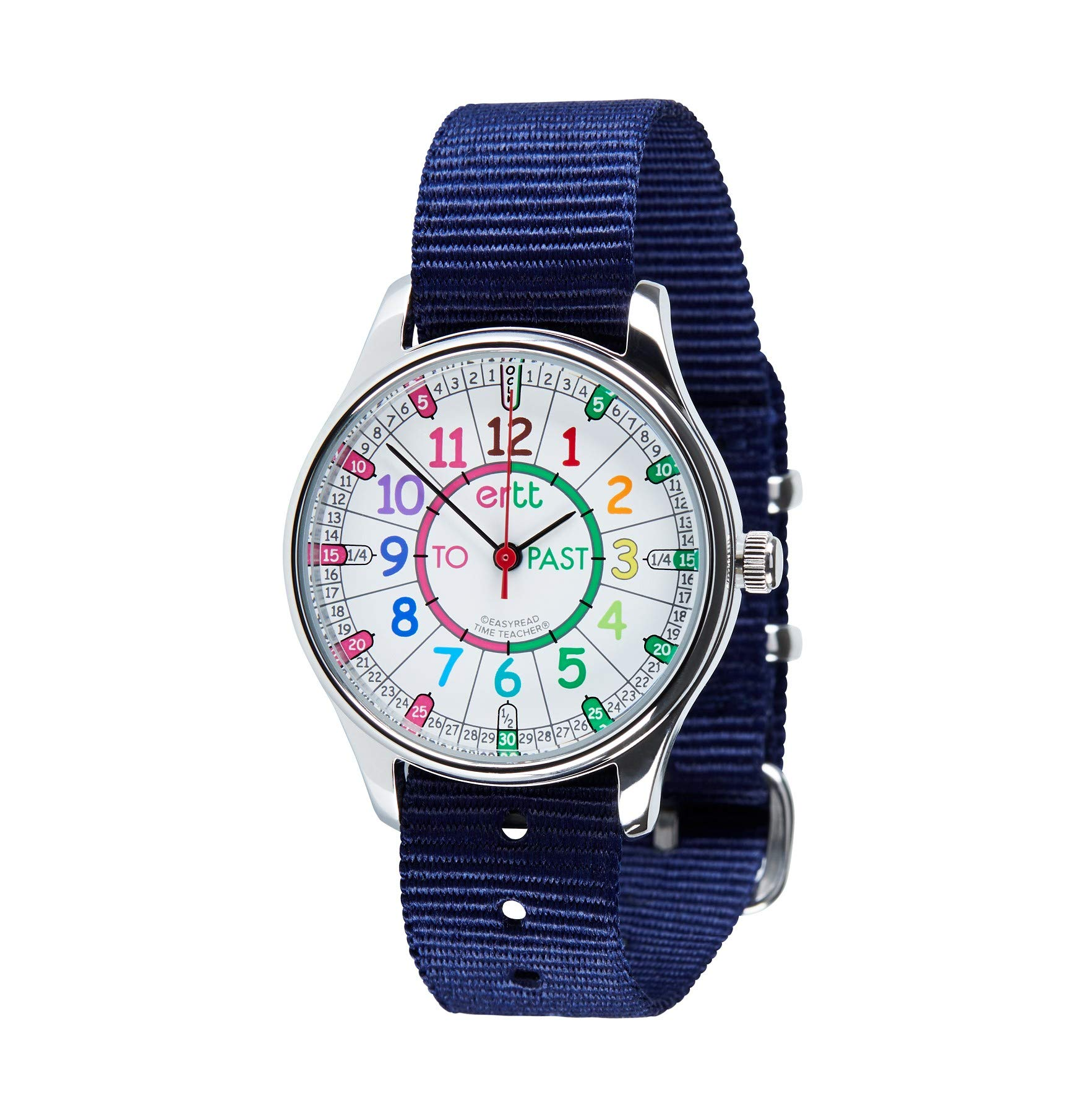EasyRead Time Teacher WERW-COL-PT-NB Rainbow Past & to Face Waterproof Watch, Navy Blue Strap by EasyRead Time Teacher