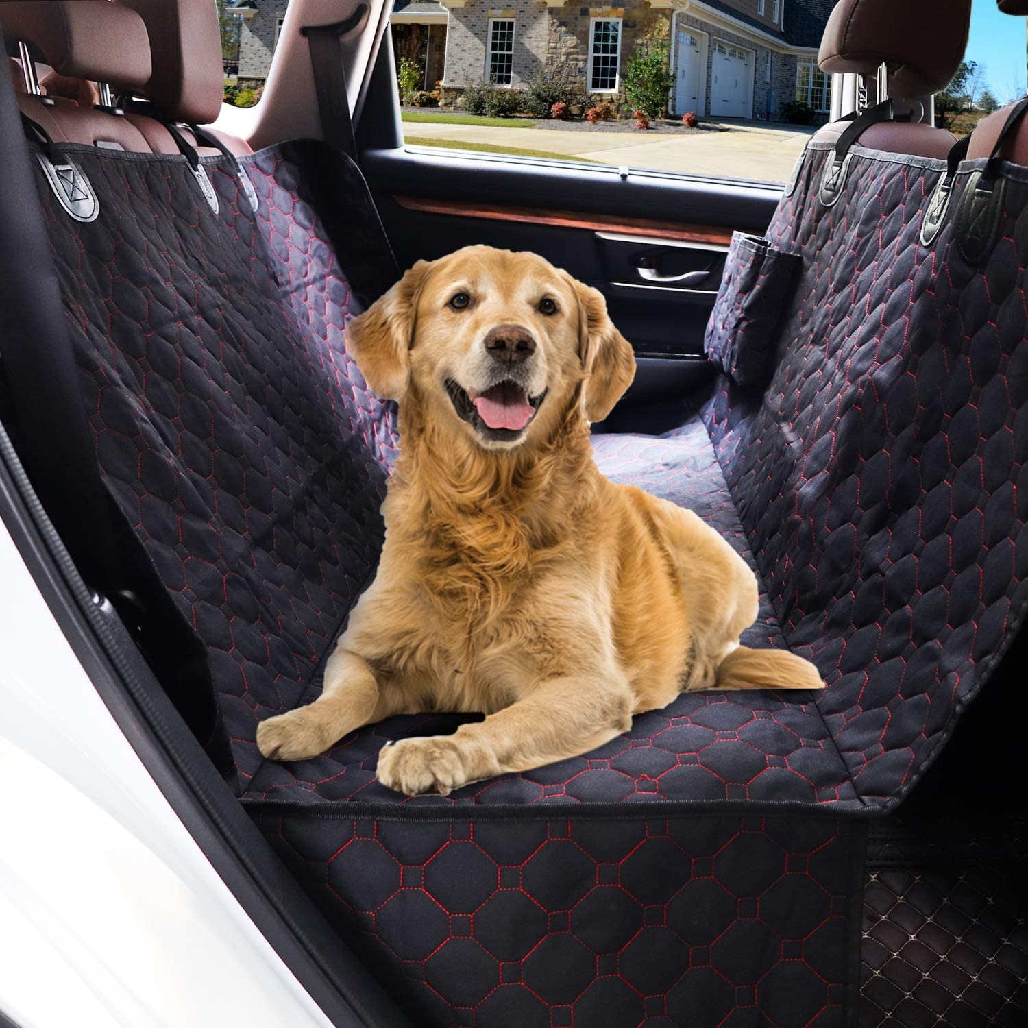 SUPSOO Dog Car Seat Cover Hammock, 800D Dog Back Seat Cover Hammock Protector with 2 Storage Pockets, Scratchproof Nonslip Soft Pet Backseat Cover for Cars SUVs and Trucks