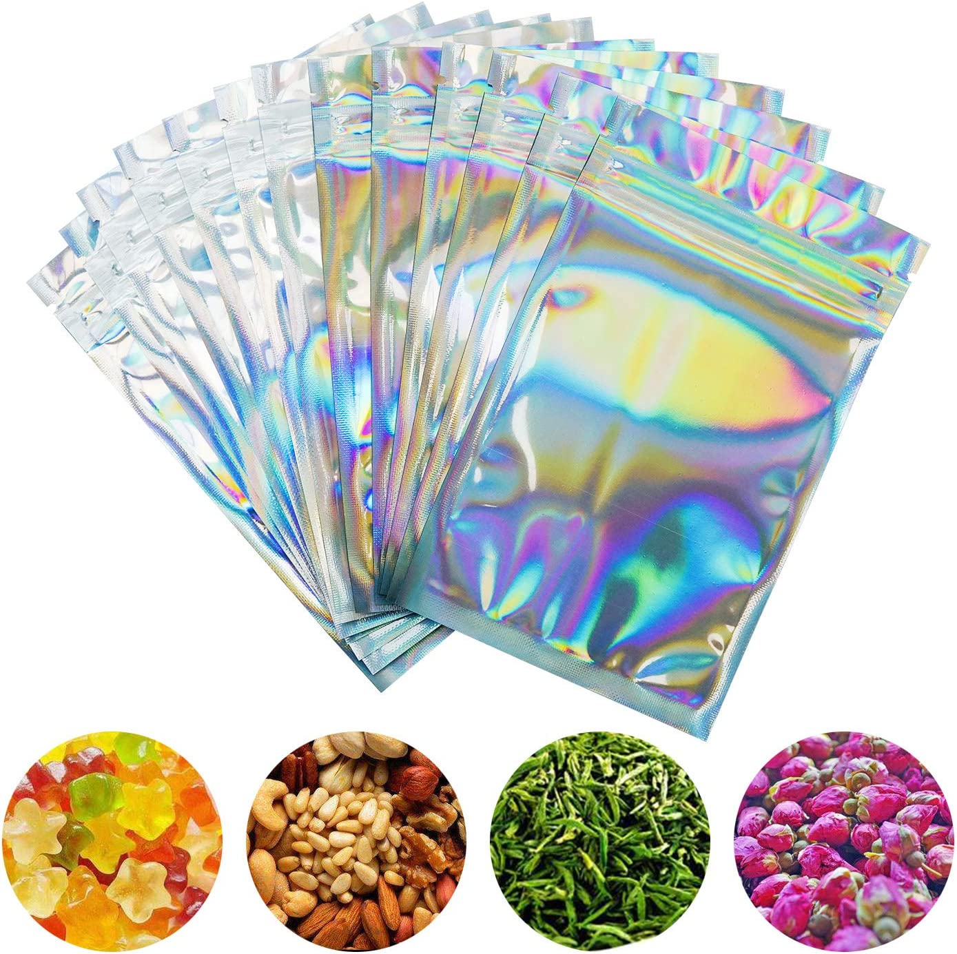 SMONCO 100 Pieces Smell Proof Bags - 3x5 Inches Resealable Mylar Bags Clear Zip Lock Food Candy Storage Bags Holographic Rainbow Color