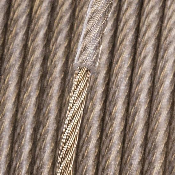 Seilwerk STANKE Cuerda de Acero Cubierta de Lat/ón en la Capa de PVC 6x7+FC DIN 3 mm 200 m