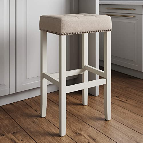 Nathan James Hylie Nailhead Wood Pub-Height Kitchen Counter Bar Stool 29″
