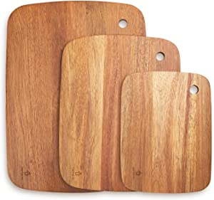 Acacia Wood Cutting Board Set of 3 Wooden Chopping Board BPA free for Kitchen Meat Fruit Vegetables Cheese Pizza