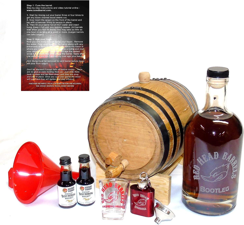 Red Head Barrels 2 litros carbonizado Roble Americano Whisky Barril Condimentación Gift Set w/Kentucky Bourbon Esencia para Hacer su Propio Alcohol ...