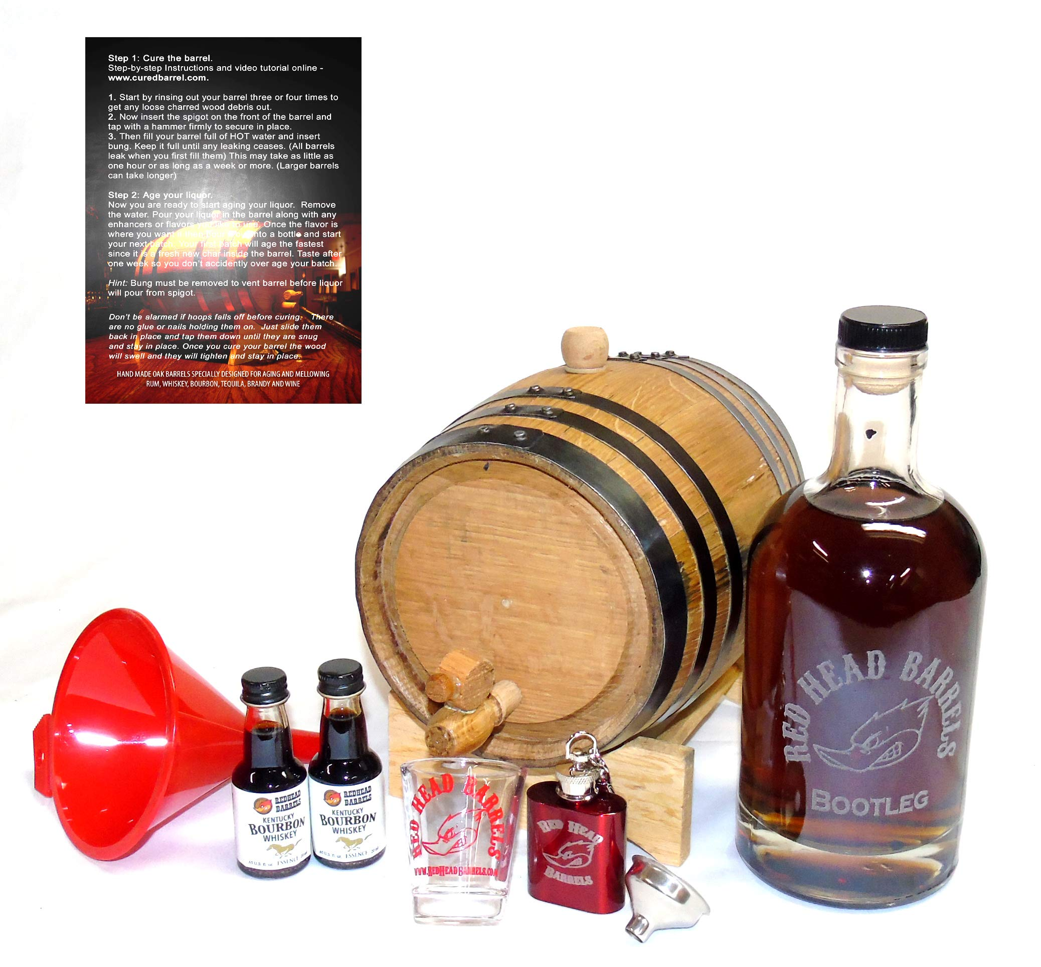 2 Liter charred American Oak whiskey Barrel Flavoring Gift Set w/Kentucky Bourbon Essence for making your own whiskey flavored alcohol by Red Head Barrels (Image #1)