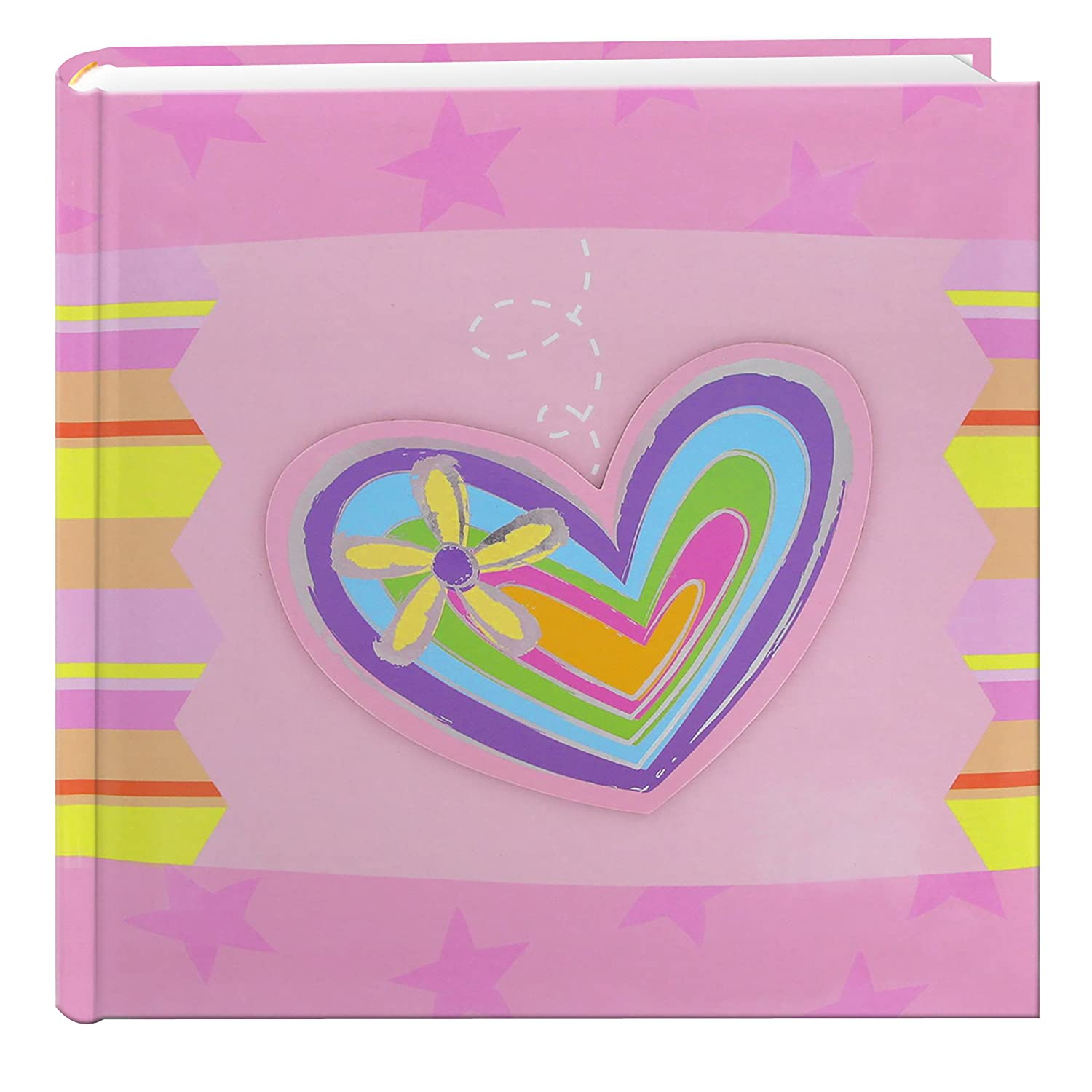 Pioneer Photo Albums 200Pocket 3D Striped Heart Applique Cover Photo Album 4 by 6Inch
