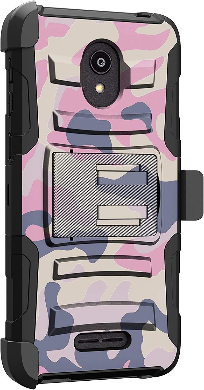 MINITURTLE Compatible with Alcatel Insight, Alcatel TCL A1 Shockproof Protective Belt Clip Holster Case Cover [Clip Armor] - Nude Camo