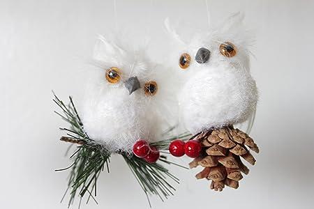 White feathered cone Owl Christmas Decoration (2): Amazon.co.uk ...