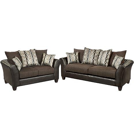 Flash Furniture Riverstone Rip Sable Chenille Living Room Set