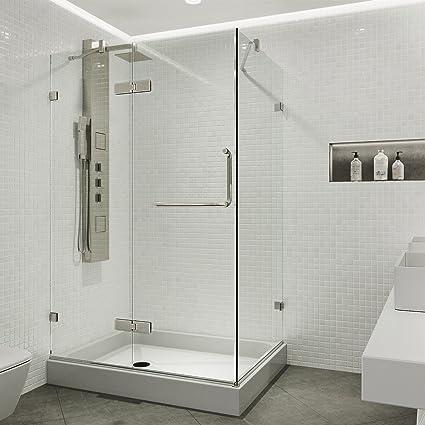 36 X 48 Shower Base.Vigo 36 X 48 Inch Frameless Rectangular Hinged Pivot Shower Door Enclosure With Magnetic Waterproof Seal Strip 304 Stainless Steel Hardware Tempered