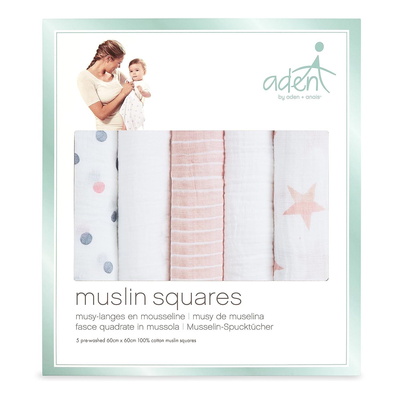 60cm x 60cm 100/% cotton muslin dapper anais muslin squares aden by aden 5 pack