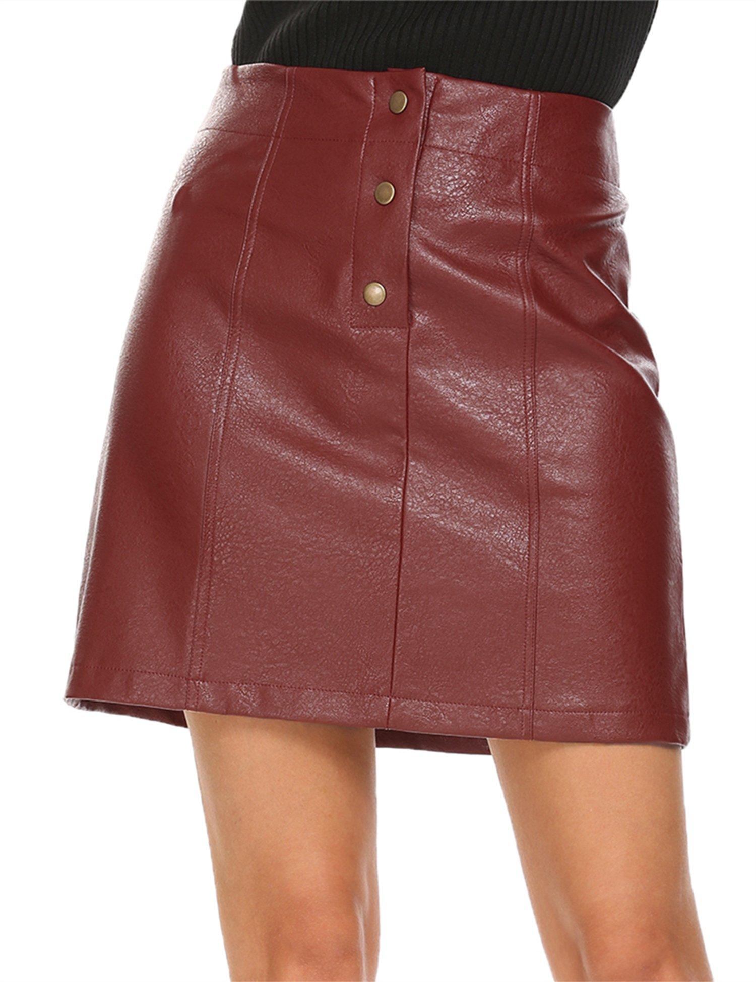 Mofavor Women's Faux Leather Skirts High Waist Button Front A Line Short Mini Skirt