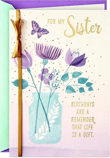 Amazon.com: Hallmark - Tarjeta de cumpleaños para hermana ...