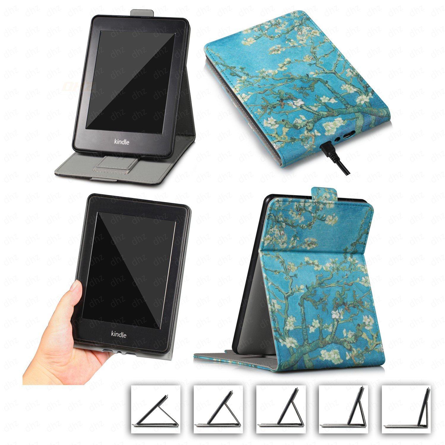 DHZ Multi-Viewing Case for Kindle Paperwhite - PU Leather Vertical Stand Flip Cover with Hand Belt Card Slot Auto Sleep/Wake for Amazon Paperwhite(All 2012 2013 2014 2015 2016 Versions),Apricot Flower