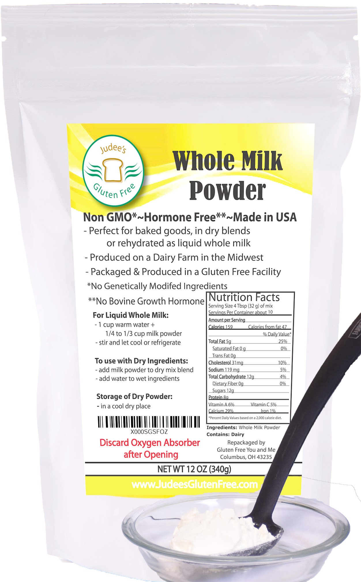 Whole Milk Powder (12 Oz): Non-GMO, Hormone Free and Produced in USA