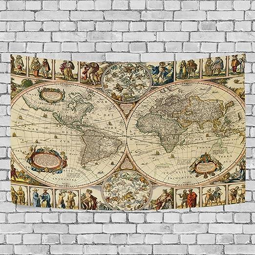 coosun mapa Vintage colgar en la pared – tapiz alfombra casa Decorarion de pared para salón o dormitorio Decor, 60