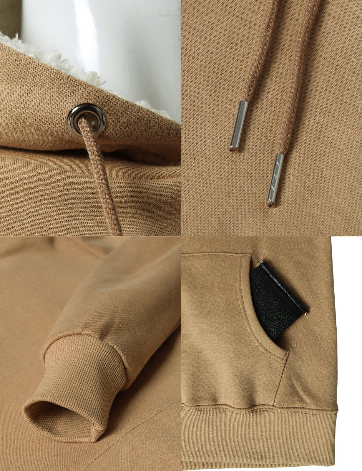 H2H Men's Fine Quality Plush Fleece Lined Pullover Beige US L/Asia XL (KMOHOL0126) by H2H (Image #4)