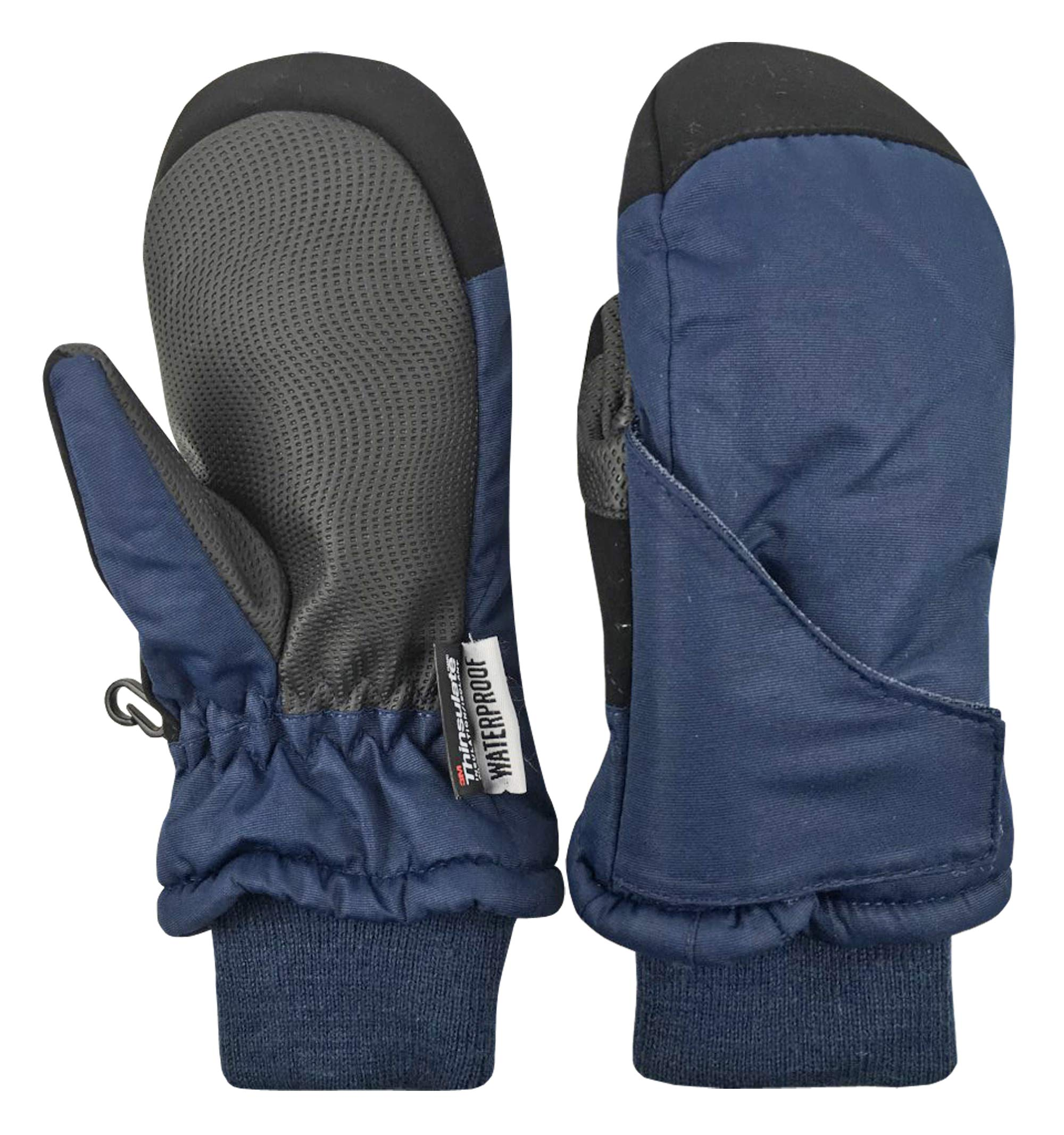 N'Ice Caps Kids and Baby Easy-On Wrap Waterproof Thinsulate Winter Snow Mitten (Navy 2, 2-3 Years) by N'Ice Caps