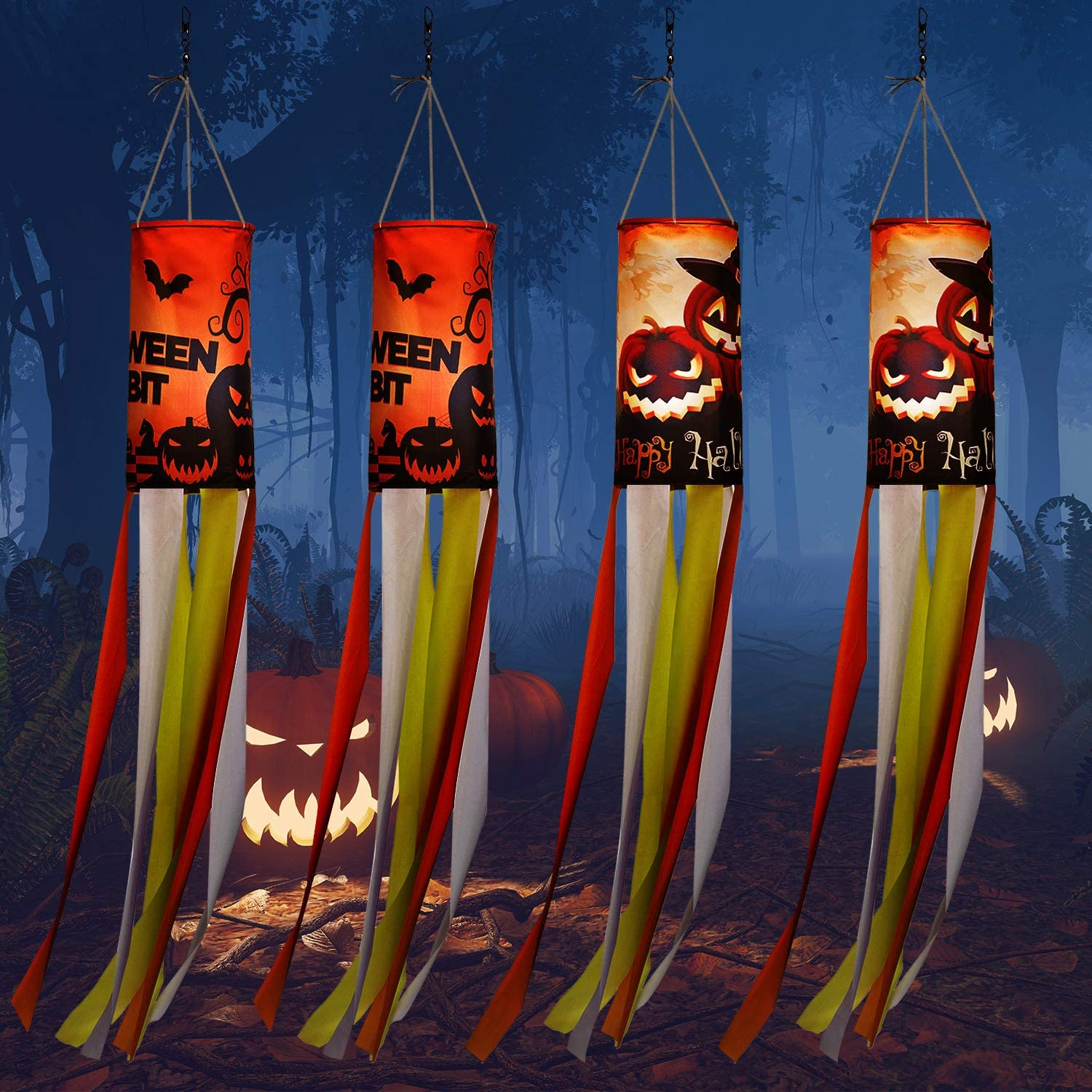 WILLBOND 4 Pieces 40 Inch Halloween Pumpkin Ghost Windsock Flag Outdoor Hanging Decoration Large Halloween Theme Garden Windsock for Front Yard Patio Lawn Party Decor, 2 Styles
