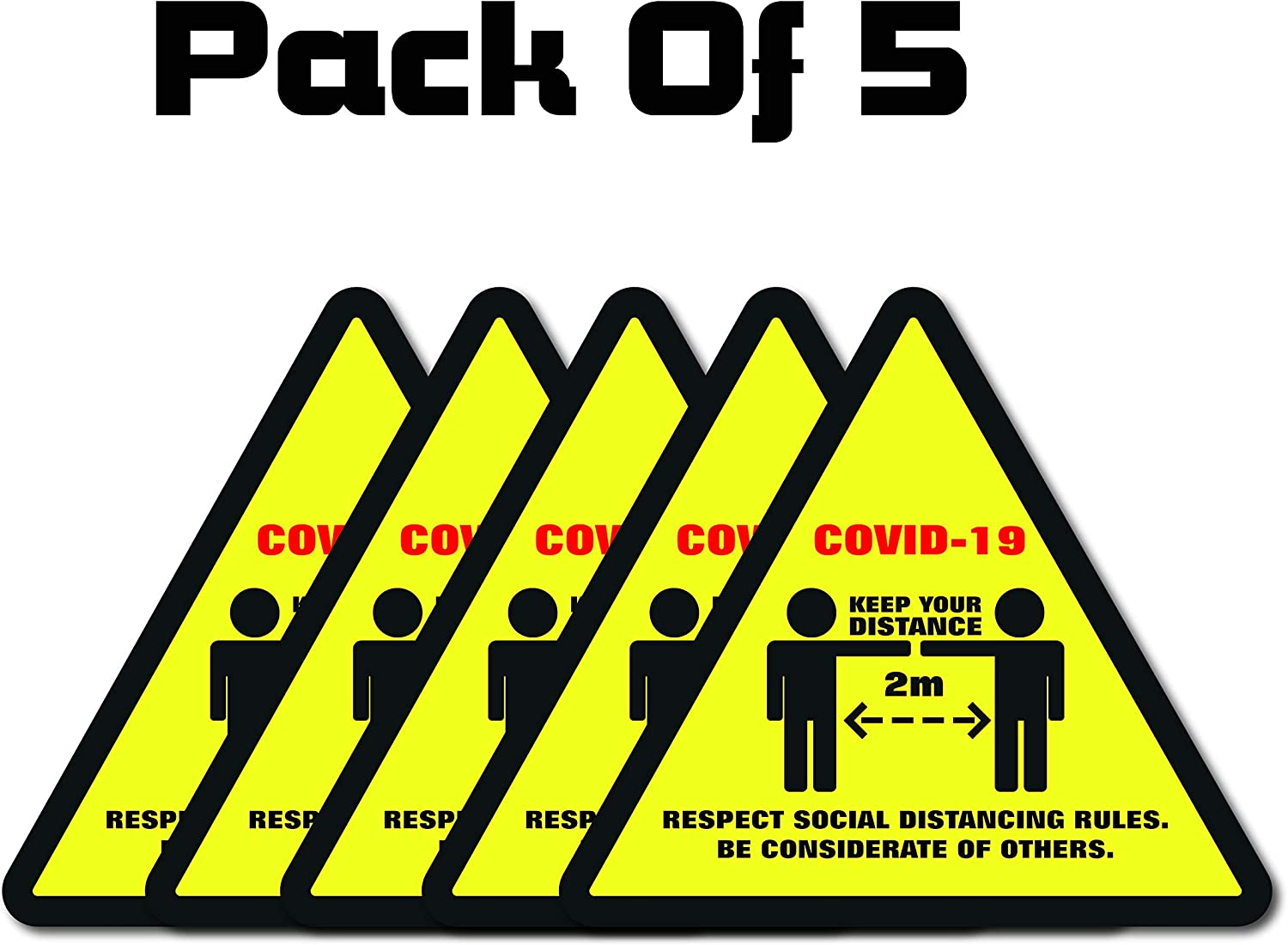Pack of 5 Triangle COVID-19 Social DISTANCING Rules Self Adhesive Laminated Floor Sticker Signage Covid19 Corona Virus Health /& Safety