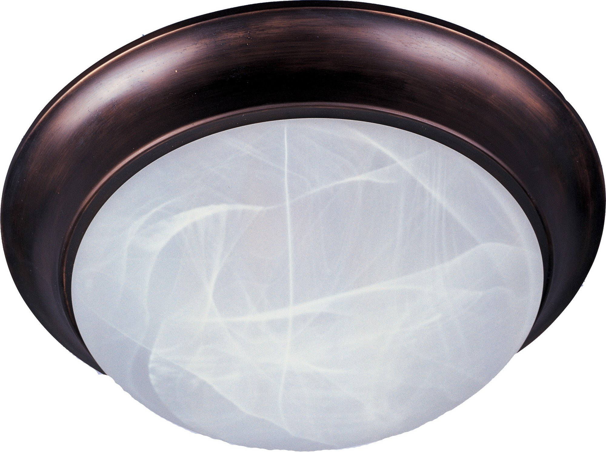 Maxim 5850MROI Essentials 1-Light Flush Mount, Oil Rubbed Bronze Finish, Marble Glass, MB Incandescent Incandescent Bulb , 40W Max., Dry Safety Rating, 2900K Color Temp, Standard Dimmable, Glass Shade Material, 4500 Rated Lumens
