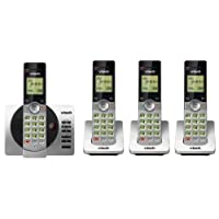 VTech DECT 6.0 Four Handset Cordless Phones with ITAD, CID, Backlit Keypads and Screens, Full Duplex Handset Speakerphones, Call Block Silver/Black, CS6929-4